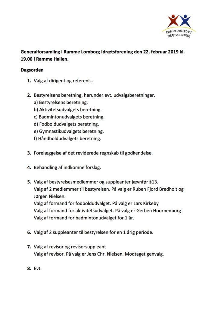 Generalforsamling i Ramme Lomborg Idrætsforening